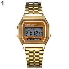 Men's Women's Date Stainless Steel LED Digital Sports Stopwatch Wrist Watch
