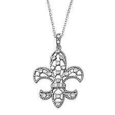 Fleur De Lis Necklace with CZ Sterling Silver 925 Jewelry Gift 16 inch + 1 inch