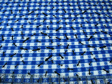 3 Yards Quilt Flannel Cotton Fabric- AE Nathan Picnic Tablecloth Blue White Ants