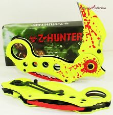 Z-Hunter Zombie Slayer Blood Splatter Neon Green Karambit Spring Assisted Knife