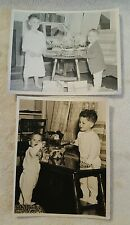 Vintage Black and White Photos of 2 Young Boys on Easter Morning