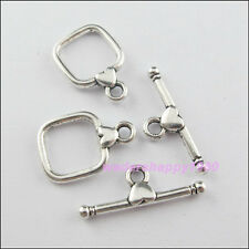 12Sets New Charms Tibetan Silver Tone Square Heart Connectors Toggle Clasps