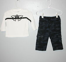 WOW~ JOE FRESH sz 6-12 mths BOYS OUTFIT CAMO JEANS CREW PLANE SHIRT