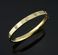 High Quality Stainless Steel Women Men 6mm Love Bangle Bracelet w/ CZ 8""
