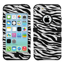 For Apple iPhone 5C Rubber IMPACT TUFF HYBRID Case Skin Phone Cover Zebra