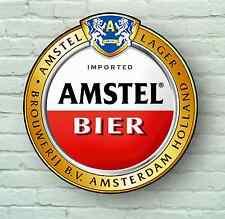 Grand AMSTEL BIER Lager beer label image pub Amsterdam verre d'alcool SIGNE