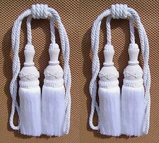 2 Upholstery Double Tassel Tieback White Color