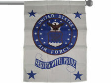 "U.S. AIR FORCE SERVED WITH PRIDE GARDEN BANNER/FLAG 28""X40"" SLEEVED POLY"