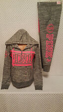 NWT Victoria's Secret PINK Fashion Show Marled Gray Half Zip Hoodie&Pants Set S