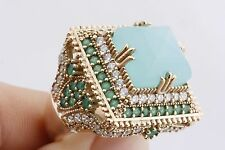 Turkish Handmade Jewelry Rolexana Square Aquamarine Emerald Topaz Ring Size 8