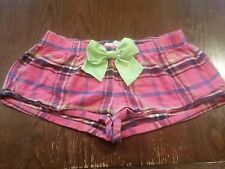 Abercrombie & Fitch Adorable Bow Pink Plaid Sleepwear Micro Booty Shorts (XS)