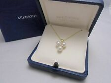 Mikimoto Pearl 18K Yellow Gold Pendant Necklace  Akoya 6mm 3Pearls  /w Diamond!