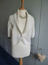 PRECIS PETITE CREAM IVORY KNITTED BOLERO SHRUG SHORT CARDIGAN SZ M 12/14 BUTTON