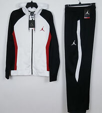 NIKE JORDAN DRI-FIT WARM UP SUIT JACKET + PANTS WHITE BLACK RED NWT =SIZE MEDIUM