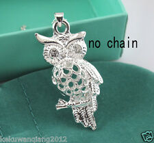 Hot Silver Small Owl 3D Hollow Out Necklace Pendant