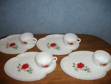 "Vtg. 8 Pc. Rosecrest ""Red Rose"" Opaque Milk Glass Snack Sets by Federal- 1950's"
