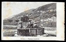 RAVELLO SALERNO FONTANA IN PIAZZA XILOGRAFIA - LE CENTO CITTA' D' ITALIA 1891