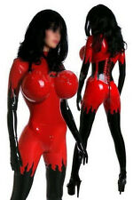 100%Latex Rubber Red and Black Catsuit Inflatable Chest Uniform Size XS~XXL