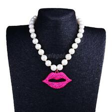 Lovely Faux Pearl Rhinestone Diamante Red Lip Pendant Necklace Women Jewelry