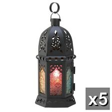 """5 colorful RAINBOW Moroccan 10"""" Candle holder Lantern wedding table decoration"""