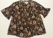 Denim & Supply Ralph Lauren Women Brown Pintucked Floral Blouse Size S, Small