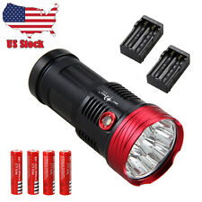 SKYRAY Brightness 25000LM 10x XML T6 LED Flashlight LED Torch 4x18650+2xCharger