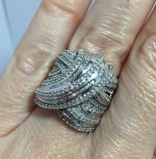 Large Sterling Silver 1.5 - 2 Carat Ct Diamond Pave Baguette Wedding 925 Ring 7