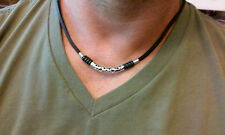 NEW Leather Men's beaded Surfer Necklace Choker  bar style necklace