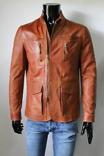 ITALIAN HANDMADE MEN LEATHER TRENDY BLAZER JACKET BURNT TAN DISTRESSED M