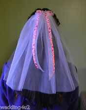Wedding Redneck ~Bridal Veil~ Pink Camo Bow Deer Hunter Hunting 2 Tier