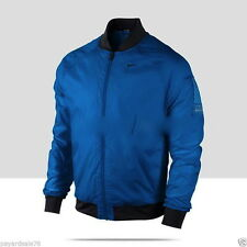 NIKE DRI FIT SPHERE BOMBER MENS TRACK RUNNING JACKET L lg BLUE BLACK THERMAL NWT