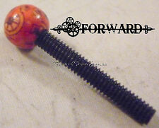 1 Tattoo Machine Contact Screw 8-32 American Thread Custom Pattern Red Wood