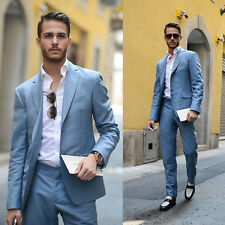 2016 New Custom Made Blue Men Wedding Suits Groom Tuxedos Business Formal Suits