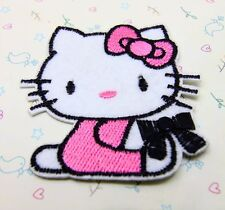 1 Pcs bow black Hello Kitty sewing notions patch iron on embroidered appliques