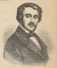 A3017 Gaetano Donizetti - Stampa Antica del 1888 - Incisione