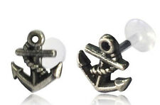STERLING SILVER ANCHOR TRAGUS HELIX 16G 5/16  8mm BIOPLAST LABRET EAR STUD GAUGE