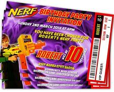 BIRTHDAY PARTY INVITATIONS Nerf Gun Theme Personalised Ticket Style