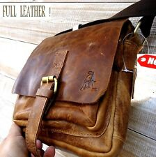 Genuine Vintage hard Leather Shoulder Bag Messenger man i pad Cowhide Bull new 9
