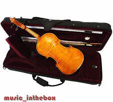 New  4/4 Hand-Made Flamed Back Violin +Bow +Rosin + Square Case  Limited