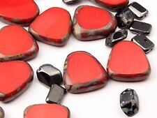 Lot of 27 Czech mixed metallic red polished faux gemstone Picasso glass beads