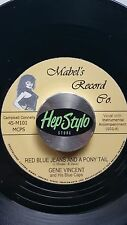 GENE VINCENT 45 RE-RED BLUE JEANS AND A PONY TAIL-KILLER UNISSUED CAPITOL 2SIDER