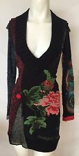 DESIGUAL Designer Sweater Dress Size Small S Red Black Stretchy 2 4 6 Long -