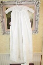 "36"" Antique Batiste Cotton Victorian Christening Gown w Pintucking & Eyelet Lace"