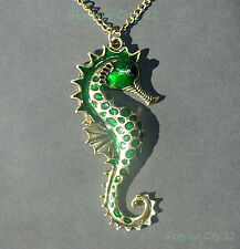Green Seahorse Necklace Gold Hippocampus Vintage Pendant Chain Birthday Gift