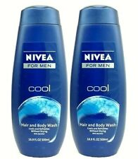 2 Nivea For Men COOL Hair & Body Wash Cools & Refresh With Menthol