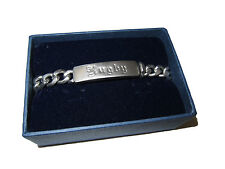 Rugby Ralph Lauren Distressed Silver Gothic Script Metal ID Polo Chain Bracelet