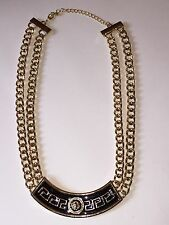 "Gold Tone & Black Double Chain Adjustable Curved Lion Bar Necklace, 18"" + 3"""