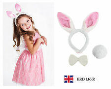 3 Pcs Rabbit Bunny Ears Headband Tail Bow Easter Party Kids Fluffy Costume PINK