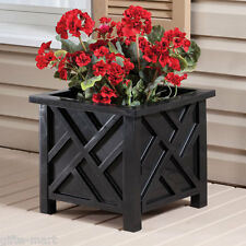 BLACK plastic Square box lattice Chippendale garden patio planter plant flower