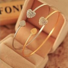 New Trendy Chic Gold&Silver Crystal Rhinestone Love Heart Bangle Cuff Bracelet